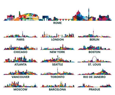 Geometric pattern skyline city America and Europe