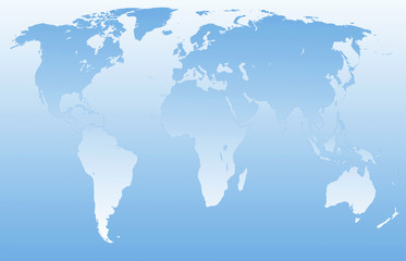 Contour map of the world in blue tonality