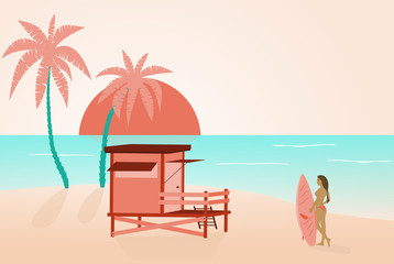 Summer at the beach. Cabin and palms and a girl in bikini with surfboard looking for good waves.