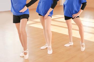 Cute little girls training in dance studio
