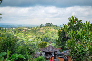 Above green terraced rice field and traditional rural architecture of Bali island. South East Asia mountain landscape, travel background photography. Amazing tropical nature of Indonesia.