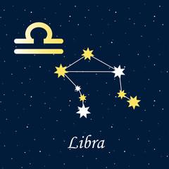 constellation Libra zodiac horoscope astrology stars night illustration gold symbol vector
