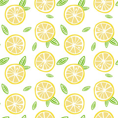 fruit lemon with green leaves on a white background pattern seamless vector