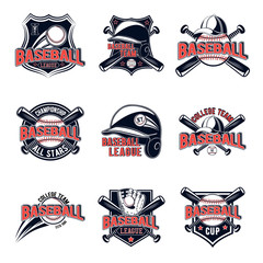 Vector set of baseball logos for your design, advertising, lototype team, print, web isolated on white background