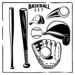 Vector baseball black and white set, helmet, glove, ball, bat, blazer isolated on white background