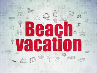 Vacation concept: Beach Vacation on Digital Data Paper background