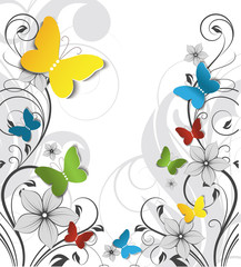 Abstract floral background with butterflies  for design