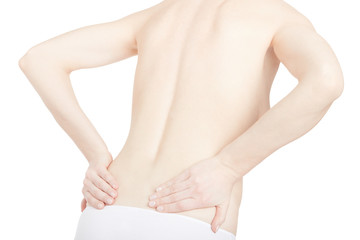Young adult woman with back pain on white, clipping path