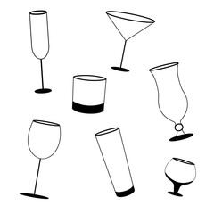 different types of glasses for drinking, black and white