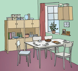 Interior color illustration. Kitchen with a table, tableware, four chairs, window, cupboard.