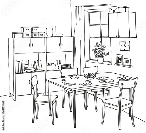 """Interior Hand-drawn Sketch. Kitchen With A Table"