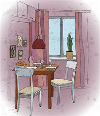 Interior color illustration. Kitchen with a table, tableware, two chairs, window, lamp, pictures.