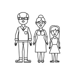 figure grandparents with their granddaughter icon