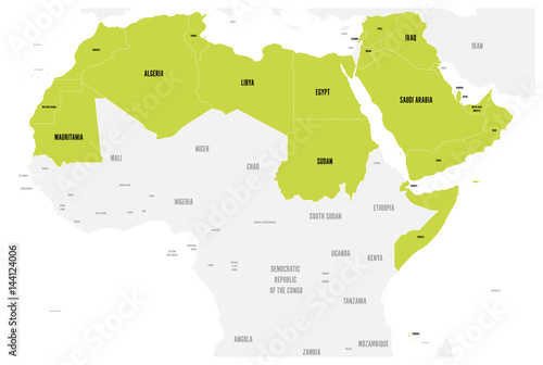 Arab World states political map with higlighted 22 arabicspeaking