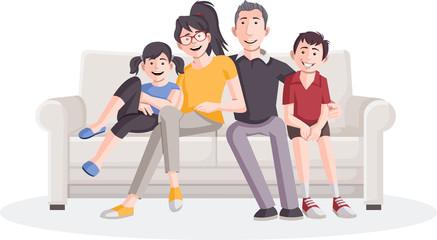 Colorful happy cartoon family on sofa.