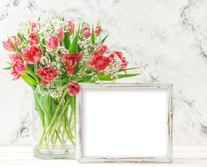Pink tulip flowers wooden picture frame copy space