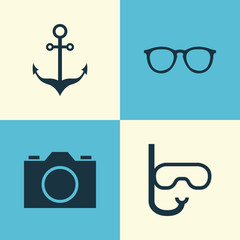Sun Icons Set. Collection Of Video, Goggles, Armature And Other Elements. Also Includes Symbols Such As Swimming, Video, Sunglasses.