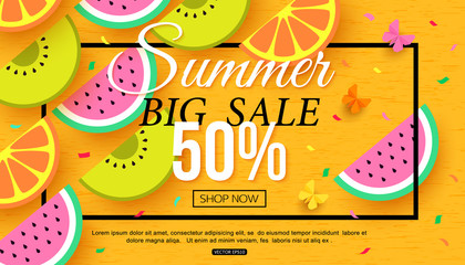 Summer sale banner with slices of fruit on yellow background, vector illustration