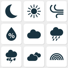 Weather Icons Set. Collection Of Breeze, Moon, Sun And Other Elements. Also Includes Symbols Such As Sunny, Rainy, Sun.
