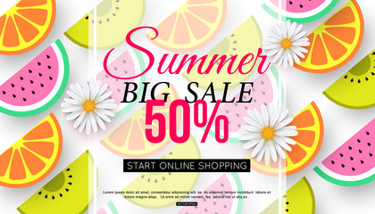 Summer sale banner with slices of fruit on white background, vector illustration