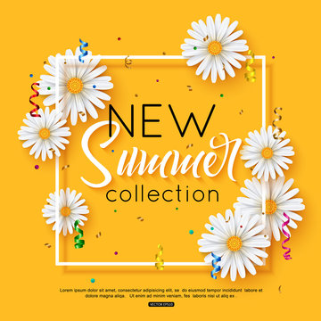 Vector illustration fashion summer new collection banner web design with daisy