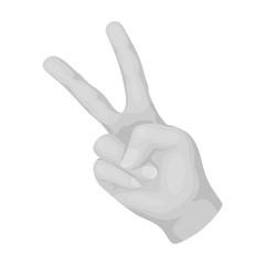 Peace symbol gesture.Hippy single icon in monochrome style vector symbol stock illustration web.