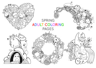 Set of spring adult coloring pages template vector illustration