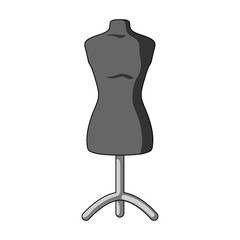 Plastic dummy on the stand.Sewing or tailoring tools kit single icon in monochrome style vector symbol stock illustration.