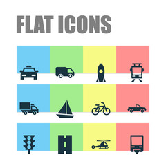 Shipment Icons Set. Collection Of Way, Yacht, Spaceship And Other Elements. Also Includes Symbols Such As Bike, Airplane, Pickup.