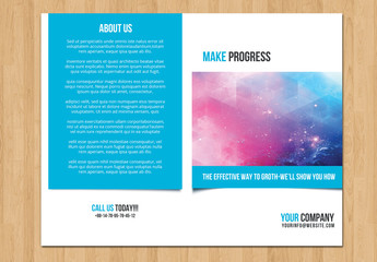 Single Fold Business Brochure with Blue Border Layout 3