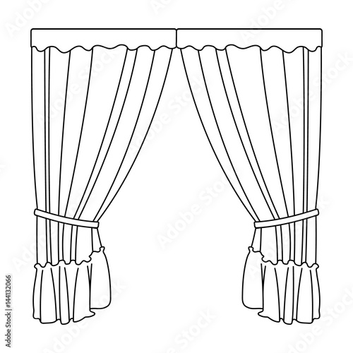 Curtains With Drapery On The Cornicecurtains Single Icon In Outline