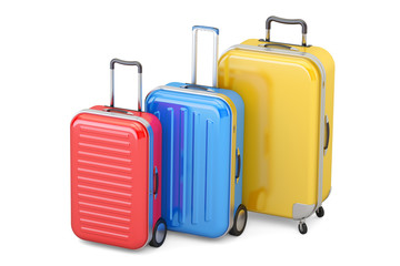 Luggage, colored suitcases. 3D rendering
