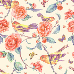 Watercolor seamless pattern with pair of birds anf camellia