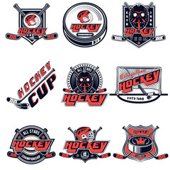 Vector set hockey logos for sports team, design, web, print on white background