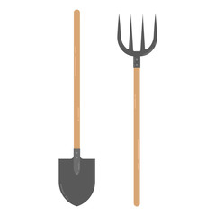 Farmers shovel and pitchfork