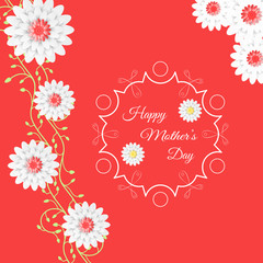 Vector Happy Mother's Day poster on the red background with curly branch of flowers, label in the center and text.