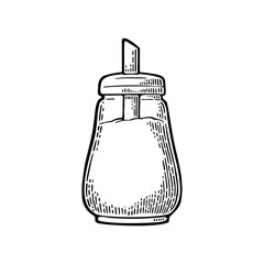 Glass sugar shaker. Hand drawn sketch style. Vintage vector engraving
