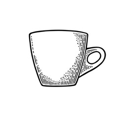 Cup of coffee. Hand drawn sketch style. Vintage black vector engraving