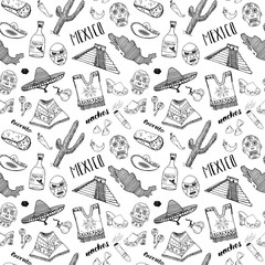 Mexico seamless pattern doodle elements, Hand drawn sketch mexican traditional sombrero hat, boots, poncho, cactus and tequila bottle, map of mexico, burrito, skull. vector illustration background