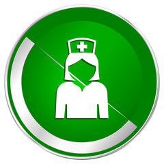 Nurse silver metallic border green web icon for mobile apps and internet.