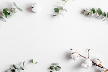 Poster de jardin Fleur Modern spring design with plants on white background top view mock-up