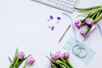 Woman office desk with flowers on white background top view mockup
