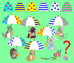 Logic puzzle game for children. Need to find corresponding details and to draw them in empty places. All the umbrellas are identical. Vector cartoon image.