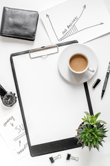 workplace with business plan on white background top view space for text