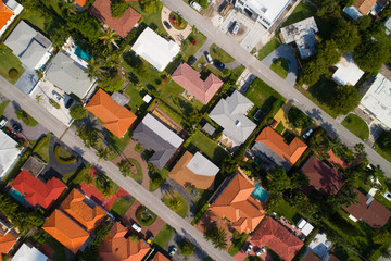 Drone aerial photo of homes in a neighborhood