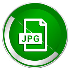 Jpg file silver metallic border green web icon for mobile apps and internet.