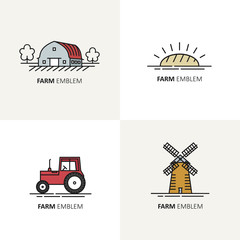 Vector set of logo design templates in flat linear style - farm symbols.