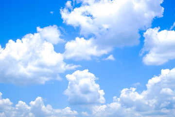 White clouds and blue sky in the daytime
