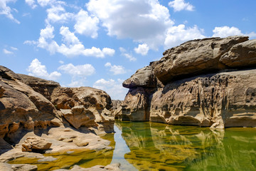Samphanbok, A large rocky rapids in the Mekong River were eroded by the tides. It is seen in the dry season of every year and is a famous tourist attractions of Ubon Ratchathani province. Thailand