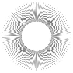 Concentric circular pattern. Random burst, radiating, radial element with distortion